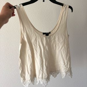 Crop tank with lace trim
